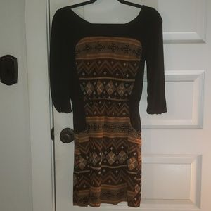 My Story black patterned 3/4 sleeve mini dress